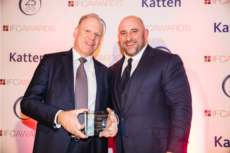 Paul Hodgson (left) is presented his award by David Flatman